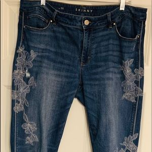WHBM skinny embroidered jeans